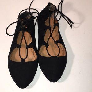 Shoes - Black lace up ballet flats